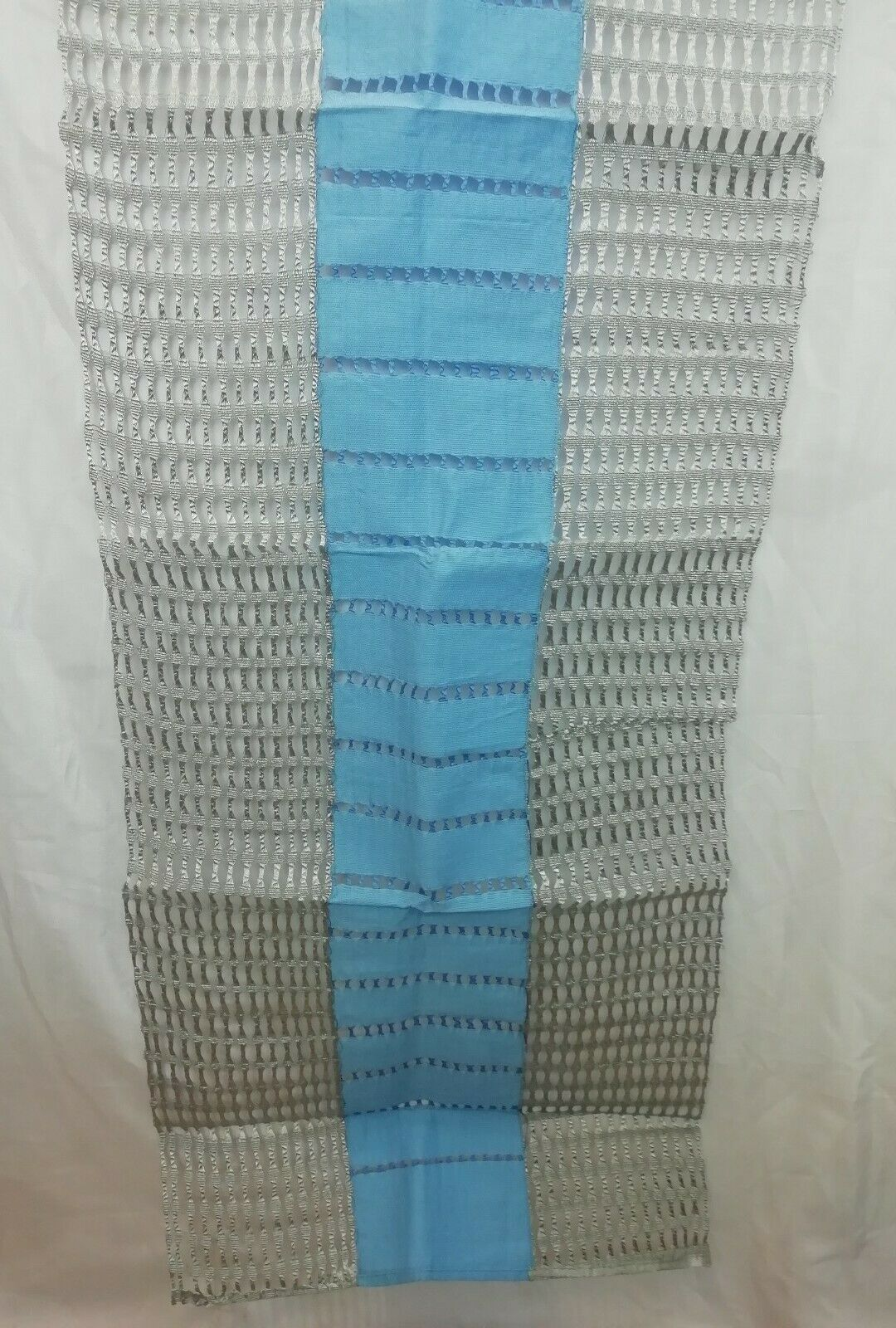 African Aso Oke Gele HeadTie Sliver & Sky Blue Good quality Material