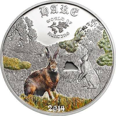 Cook Islands 2014 $2 World Of Hunting Iii - Hare 1/2 Oz Proof Silver Coin