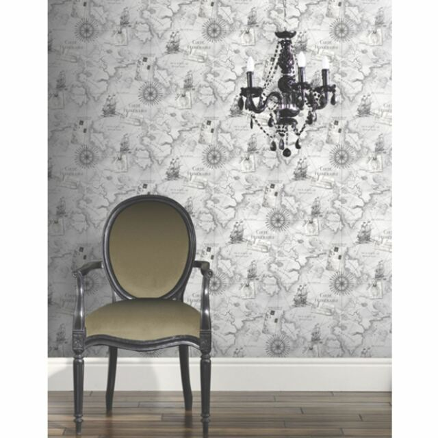 NAVIGATOR VINTAGE MAP GREY WALLPAPER - ARTHOUSE VIP 622004 - NAUTICAL