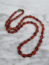 ANTIQUE CHINESE NATURAL BALTIC HONEY AMBER BONE BEAD SILVER CLASP NECKLACE