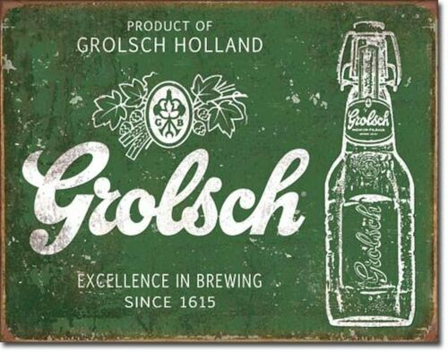 Grolsch Beer Excellence Vintage Retro Tin Metal Sign 13 x 16in
