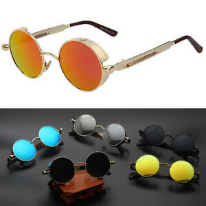 3fde1bbd51d 2018 Steampunk Sunglasses Mens Brand Design Round Sun glasses Women ...