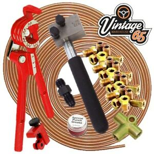 Classic-VW-DIN-3-16-034-Copper-Brake-Pipe-Line-10mm-Unions-Flaring-Restoration-Kit