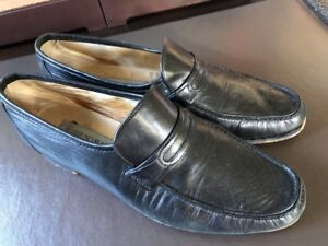 Bruno Magli Falcone Mens Black Leather Made In Italy Dress Slip On Loafers Shoes