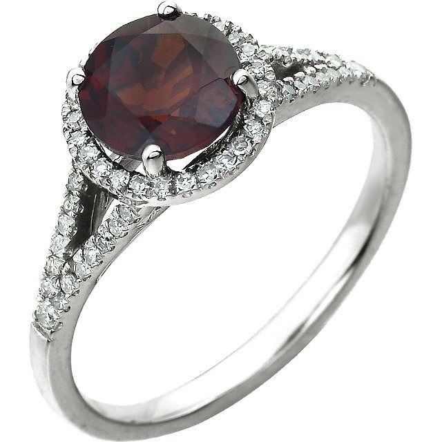 Mozambique Garnet and Diamond Ring in 14kt White gold, January Birthstone
