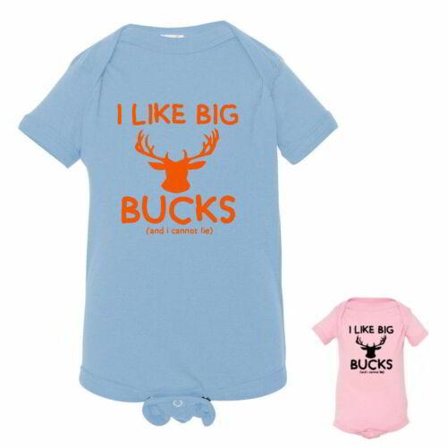 "Short Sleeve Bodysuits /""I Like Big Bucks/"" Funny Cute Deer Hunting Baby Tees"