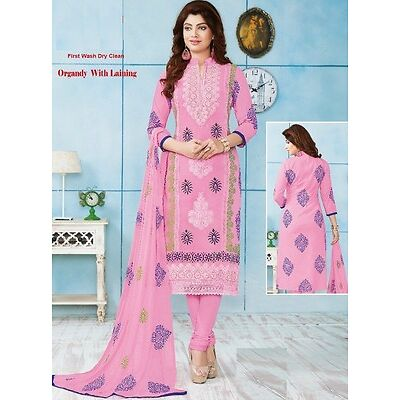 Radiant Cotton Embroidered Dress Material With Chiffon Dupatta D.No PH9401