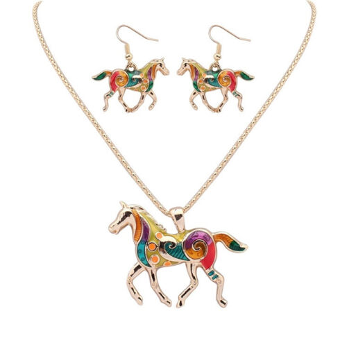 Fashion Lady Jewelry Set Necklace Earring Horse Unique Gift