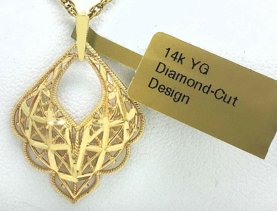 62889ced5 FILIGREE & DIAMOND CUT PENDANT 14K YELLOW gold NEW WITH TAG BRAND ...