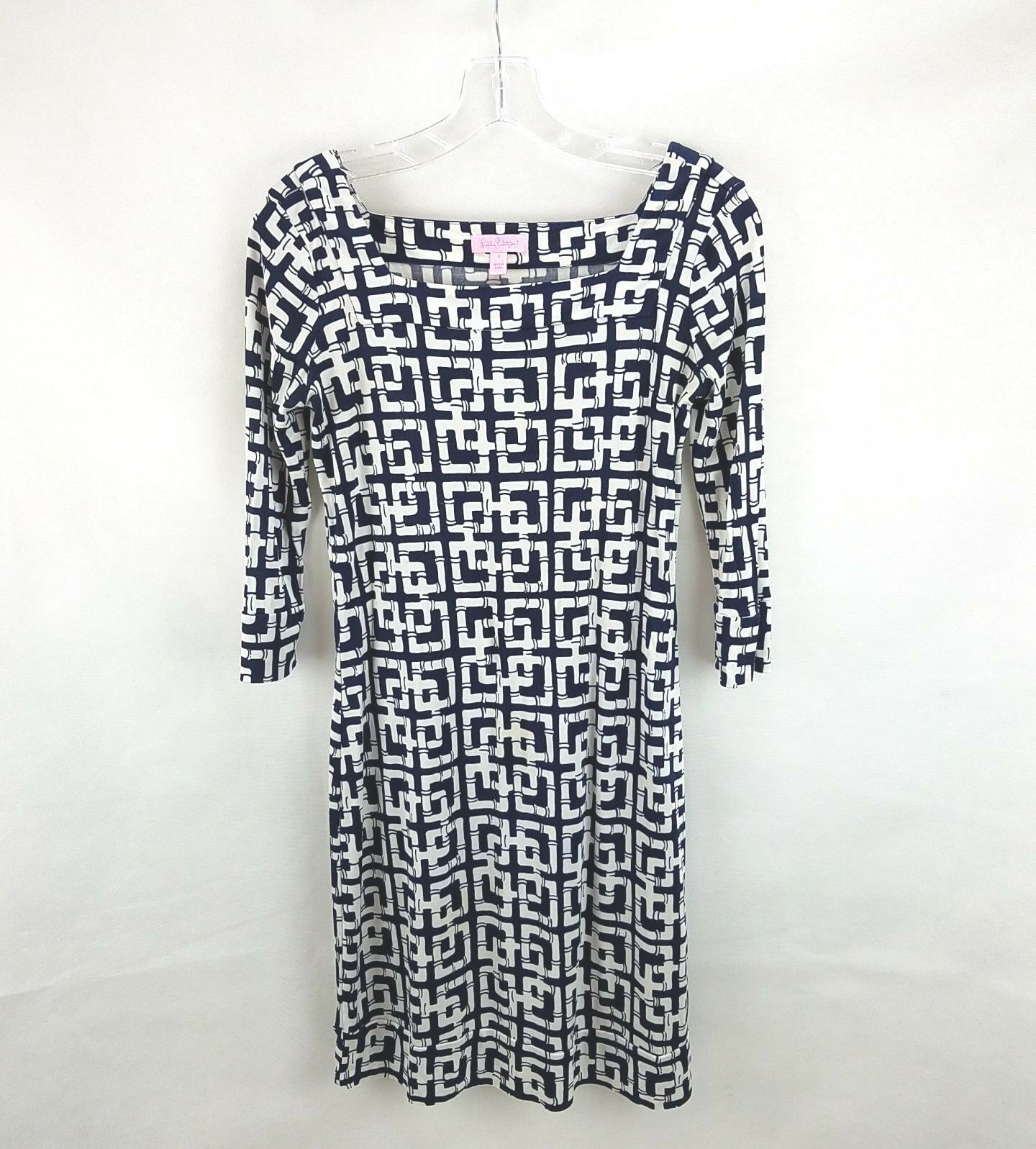 Lilly Pulitzer 100% Pure Silk Navy and White Pipe Design Dress 3 4 sleeves Sz 2