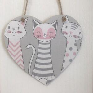 Cats-Handmade-wooden-hanging-Heart-Plaque-Decoupaged