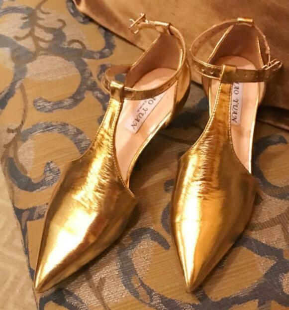 Donna Gold Pointed Toe T-strap Hollow Out Med Slim Heels Stilettos Shoes C528