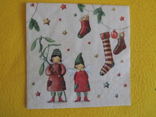 20 Serviettes Chrismas Fairies Fairy Fées 1 boîte neuf dans sa boîte Noël Gui Soc