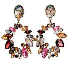 GARNET RED PINK FAUX ABALONE CITRINE TOPAZ Designer Crystal Rhinestone Earrings