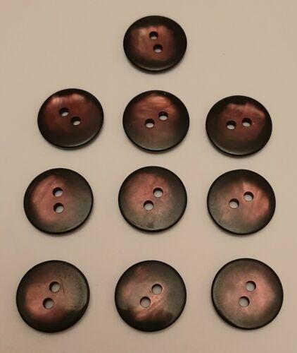 10 X 15mm grandes botones de cobre y plástico redondo negro-J4891
