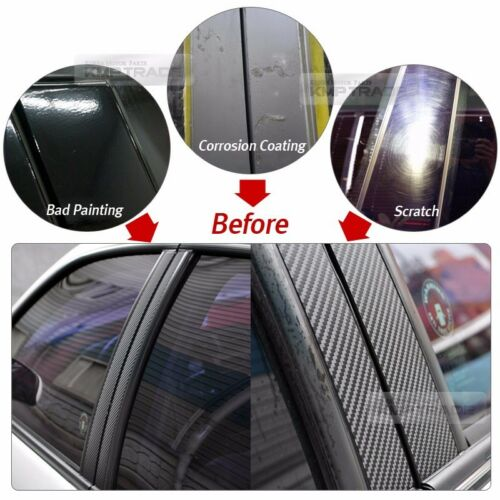 Carbon Black B+C Pillar Post Decal Sticker Cover 6P For CHRYSLER 2005-2010 300c