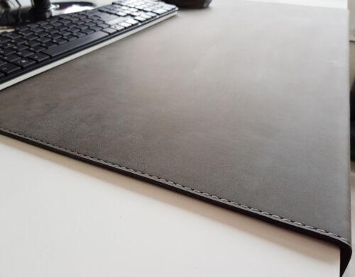 Gewinkelte Schreibtischunterlage Nubuk Leder 90 x 47 Dunkelgrau