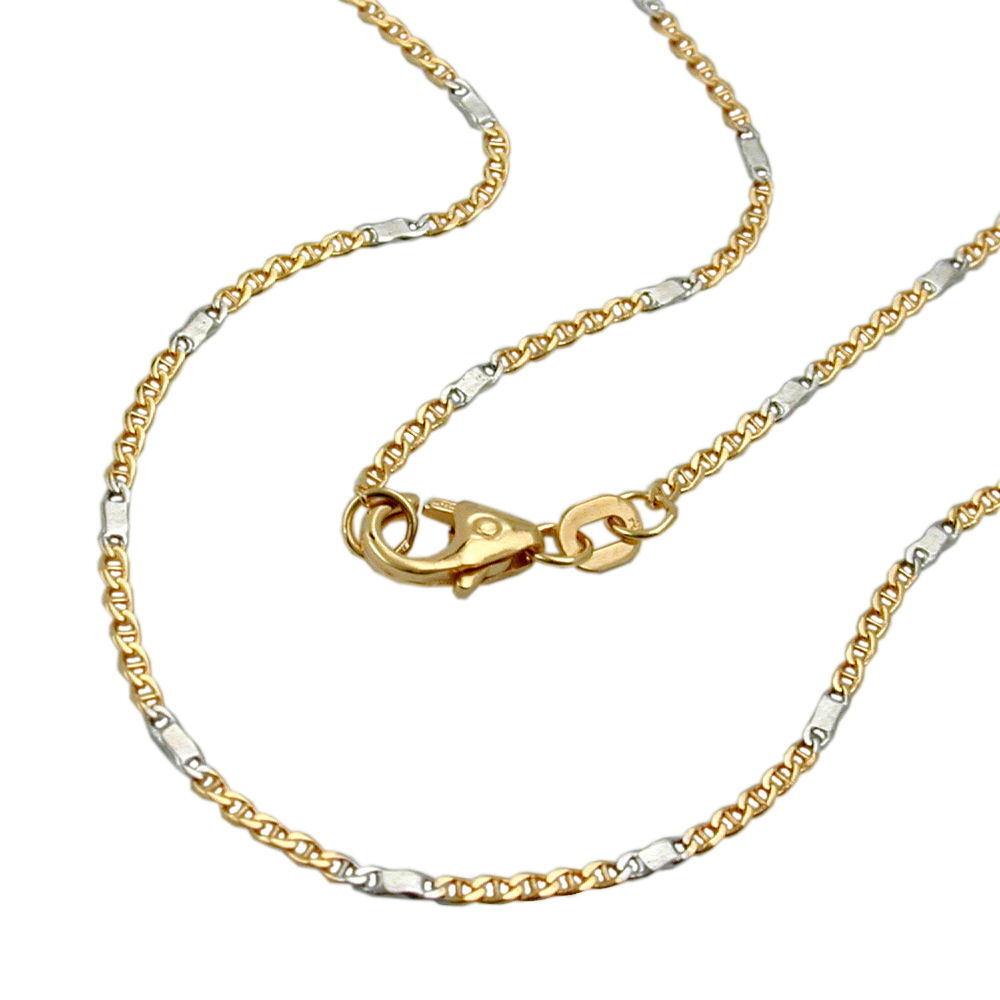 1 4 mm PANZER catena catena d'oro d'oro d'oro 585 in puro oro collana 14 carati 45 cm due colori 33c67d