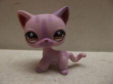 LITTLEST PET SHOP LPS SHORT HAIR PINK PURPLE STRIPED CAT 933 STAR EYES
