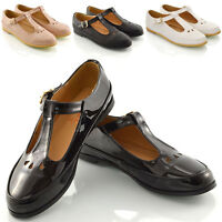 WOMENS FLAT CUT OUT MARY JANE LADIES GEEK T BAR SCHOOL OFFICE PUMPS SHOES SIZE