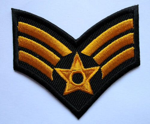 US ARMY SERGEANT STRIPE Yellow Embroidered Iron on Patch Free Postage