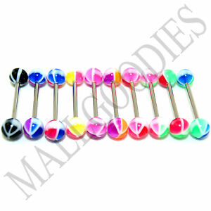 W028-Acrylic-Tongue-Rings-Barbells-Bars-Peace-Sign-LOT-of-10-Color