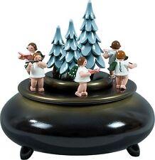 Spieldose Adventsänger blau-gold d = 22cm NEU Spieluhr Musikdose Erzgebirge Holz