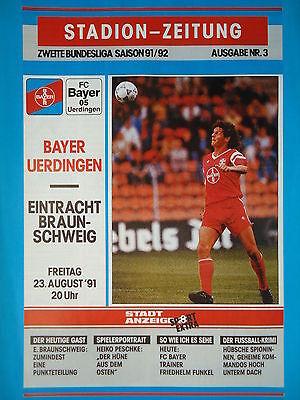 Programm 1991//92 Bayer 05 Uerdingen Braunschweig