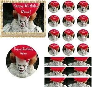 Details About Creepy Scary Clown Edible Cake Topper Image Cupcakes Clown  Cake Halloween Cake