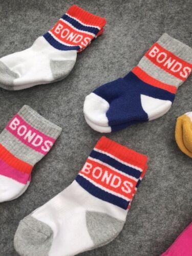 1-2 years NEW Bonds Baby Logo Cut Socks Baby Boys Girls 3 Pack Size 2-4