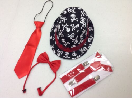 and suspenders set suitable for boys or girls tie Toddler Fedora Hat bow tie