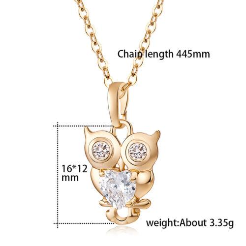Cute Heart Crystal Lucky Owl Filles Enfants Pendentif Gold Filled Femme Collier Long