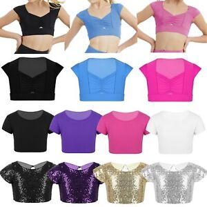 Girls Dance Sport Crop Tops Leotards Short Sleeves T Shirt Gymnastics Workout