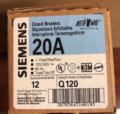 CASE of 12 Siemens Q120 20 Amp Single-Pole Type QP Circuit Breaker 20A Lot NEW