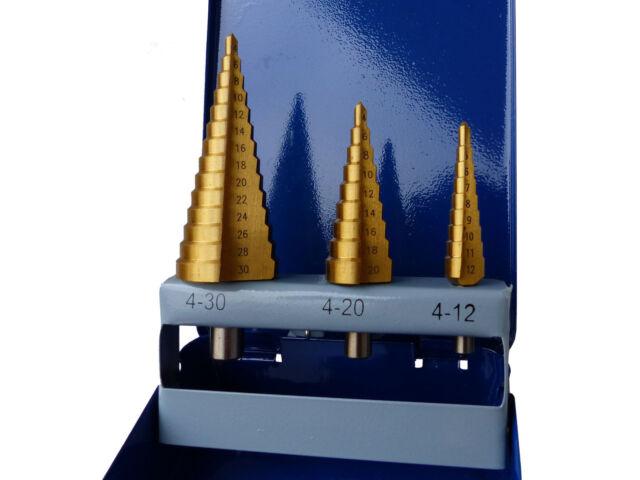 6-30 mm Metallbox Stufen Bohrer 4-20 PROFI Stufenbohrer HSS 3 tlg Satz 4-12