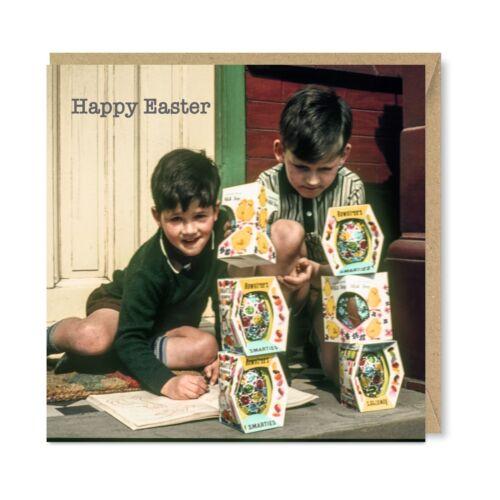 Unique Rétro Vintage Greetings Cards-Joyeuses Pâques oeufs NOSTALGIE 1960 S 1970 S