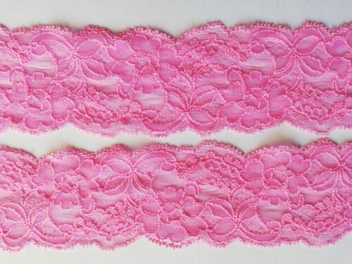 Cenefa flores punta elástica magenta rosa 5,5cm top Moda