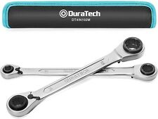 Duratech Reversible Ratcheting Wrench Set Metric 2 Piece 4 In 1 Double Box End