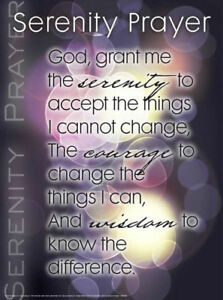 Details about Serenity Prayer Laminated Poster with Free Worksheets on Back  - CR AA AODA