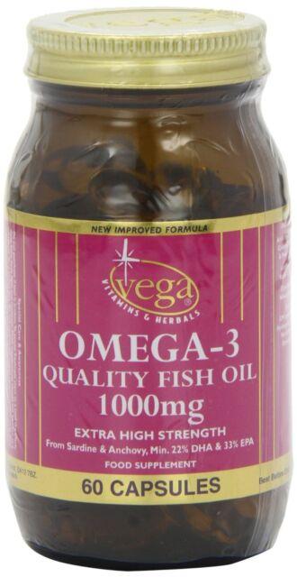 Vega Omega-3 Quality Fish Oil 1000mg 60 Capsules Buy 1 Get 1 Free