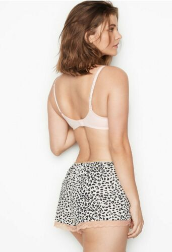 NWT Victorias Secret Cotton Shorts Pajama  Cheetah Print pink white LARGE