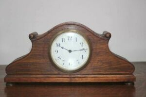 Antique-Inlaid-Oak-Cased-Mantel-Clock-Swiss-Movement-for-Parts-or-Repair-6512