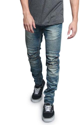 Victorious Men/'s Creased Washed Moto Denim Pants Biker Jeans   DL1083