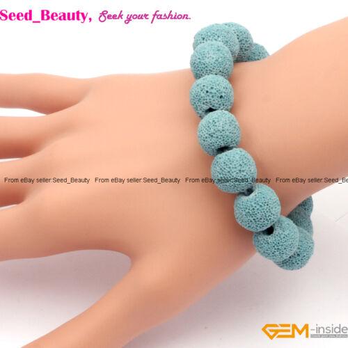 "Wholesale Fashion teints Genuine Lava Rock Stone Beads Handmade Bracelet 7/"""