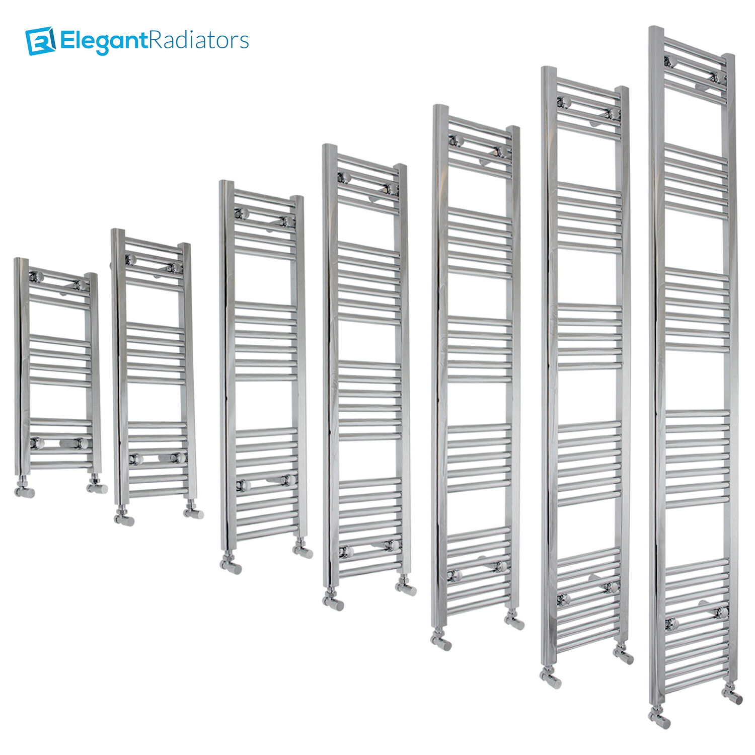 350 mm Wide Chrome Ladder Heated Towel Rail Radiator Designer Bathroom Straight