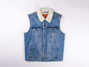 NEW-MENS-LEVIS-SHERPA-TRUCKER-VEST-LIGHT-BLUE-283390003-ALL-SIZES