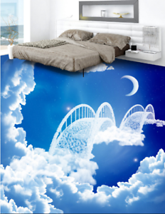 3D Moon Sky  Bridge 4 Floor WallPaper Murals Wall Print 5D AJ WALLPAPER UK Lemon