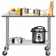 Topbuy 48 X 24 Nsf Stainless Steel Kitchen Prep Amp Work Table Commercial Cart