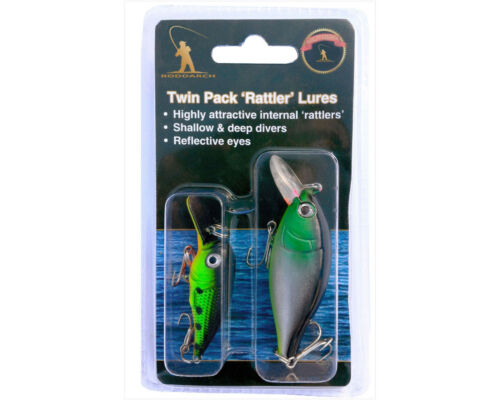 2 X FISHING SPINNERS 2 X RATTLER PLUG LURES DEEP /& SHALLOW FOR PIKE PERCH
