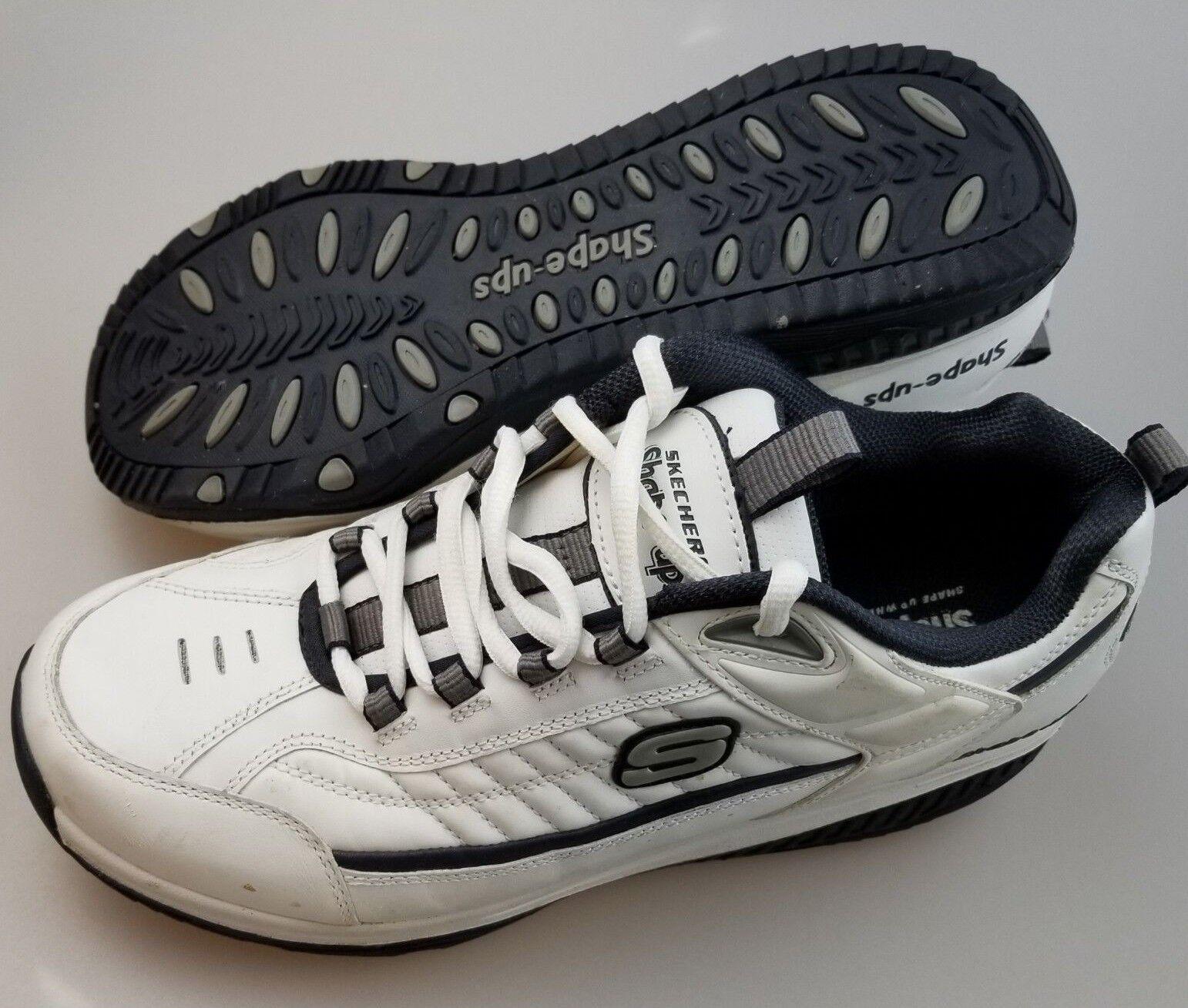SKECHERS Shape Ups 52000 White Navy Lace Up Athletic shoes Men's US 11.5